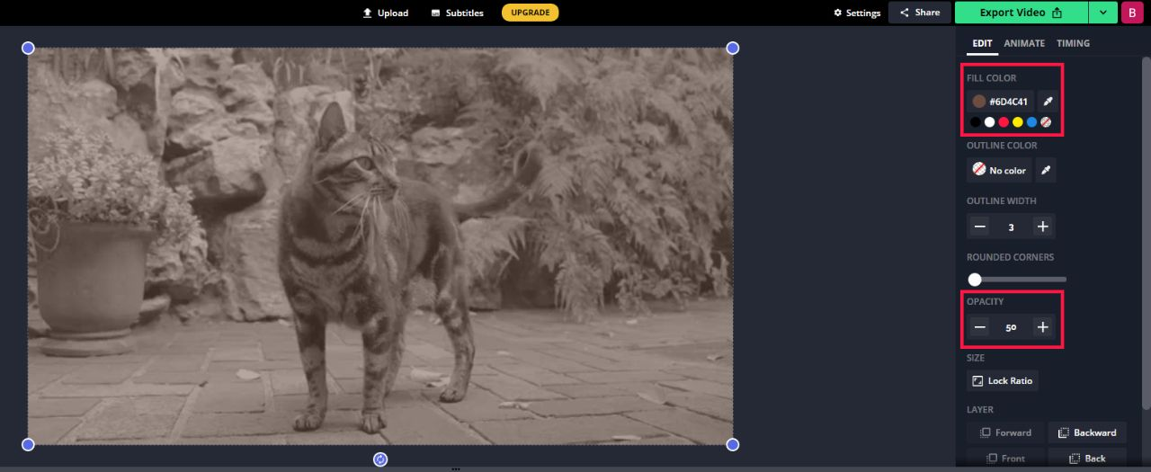 A screenshot showing how to produce a sepia-tone effect in the Kapwing Editor