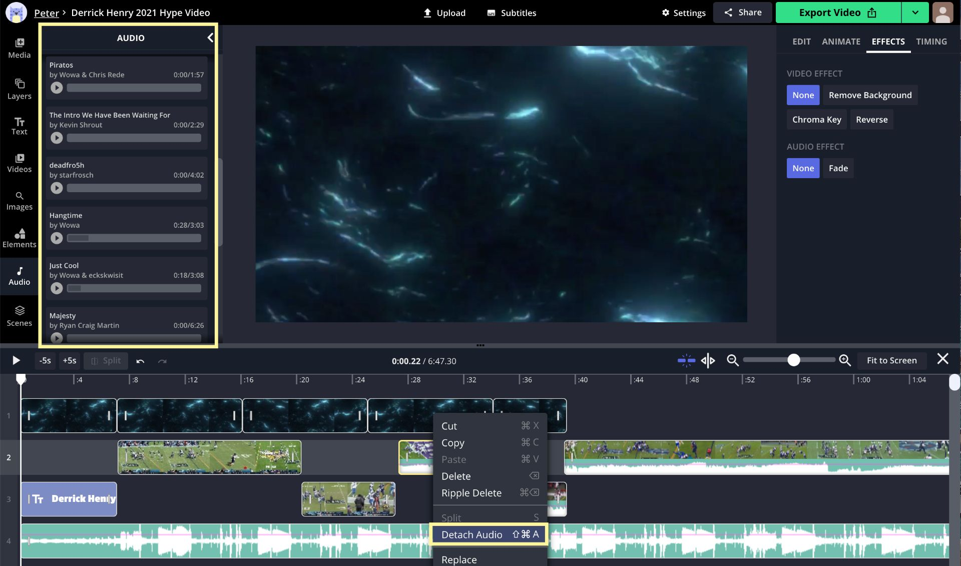 A screenshot showing how to add and edit music in the Kapwing Studio.