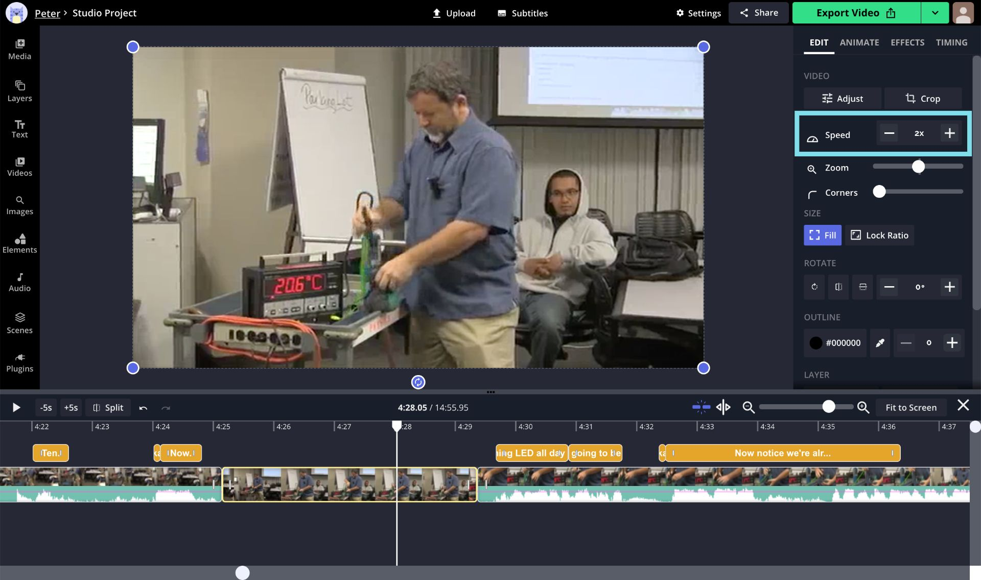 A screenshot of a section of a lecture being sped up in the Kapwing Studio.