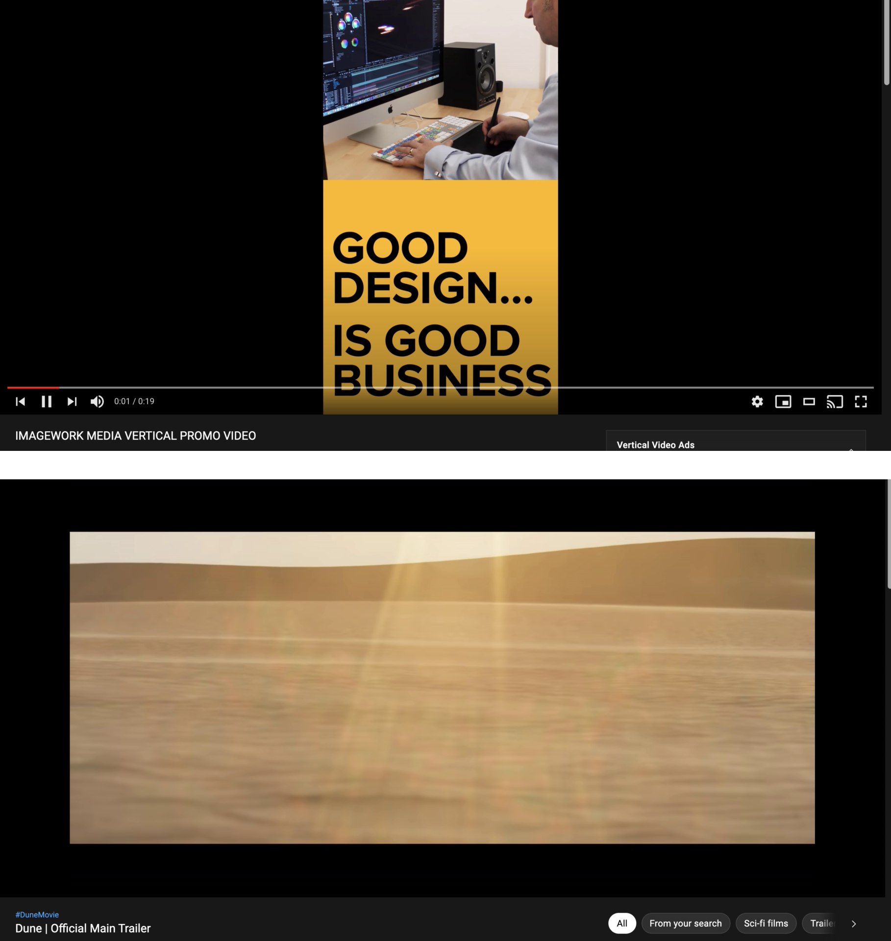 Screenshots of video ads on YouTube: one with a 9:16 aspect ratio, and another with an extra-wide cinematic aspect ratio.