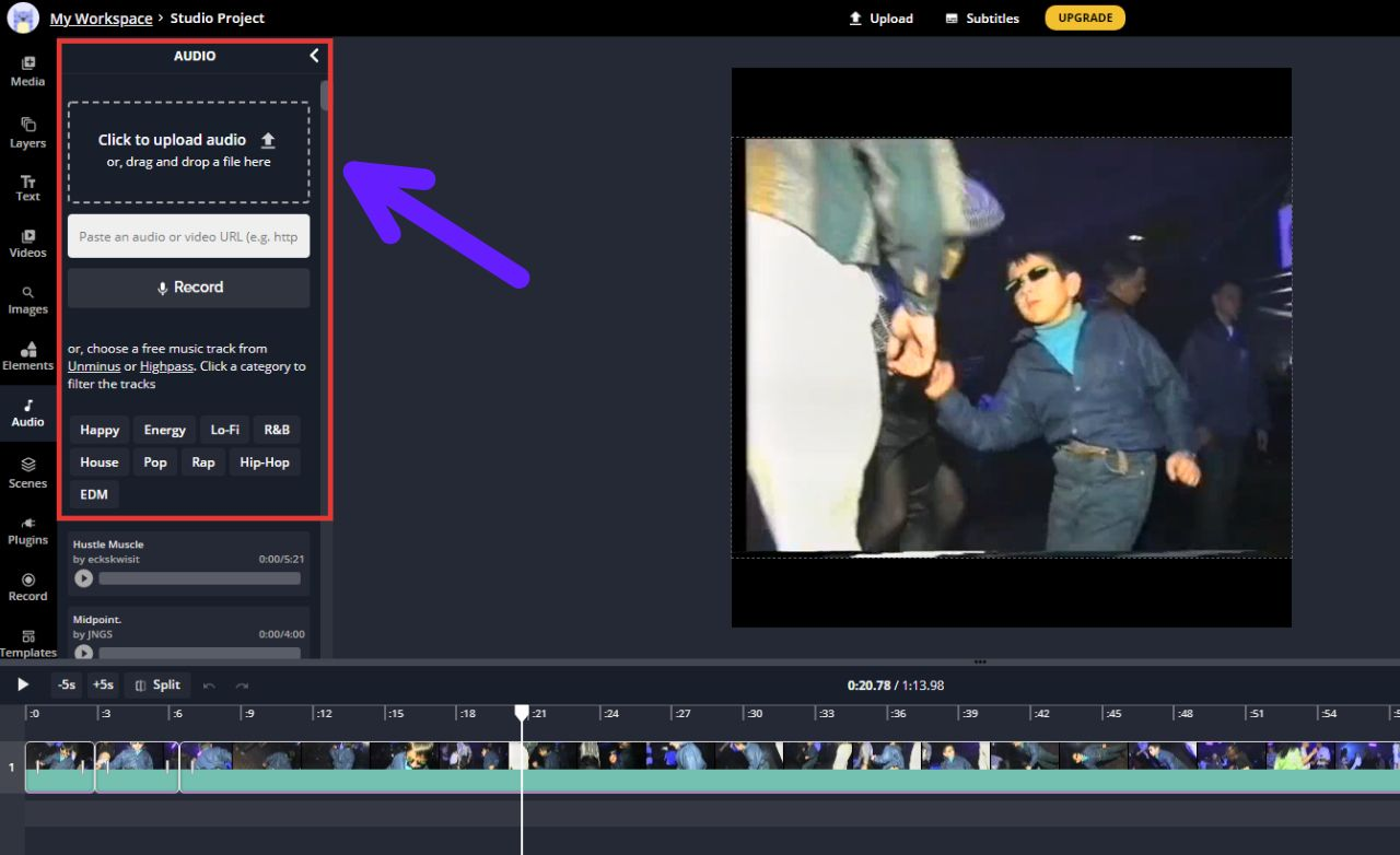 A screenshot showing how to add audio in the Kapwing Studio