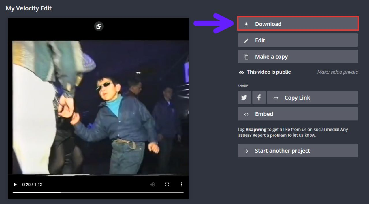 A screenshot showing how to download a finished video in the Kapwing Studio
