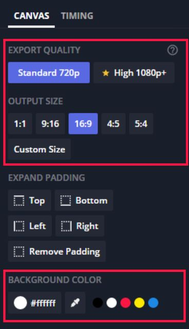 A screenshot showing the different ways to customize your canvas in the Kapwing Studio