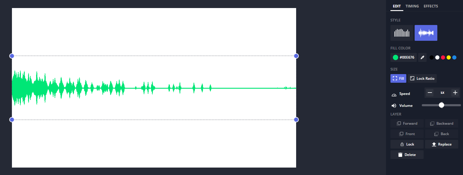 A screenshot showing a sample of an edited soundwave in the Kapwing Studio